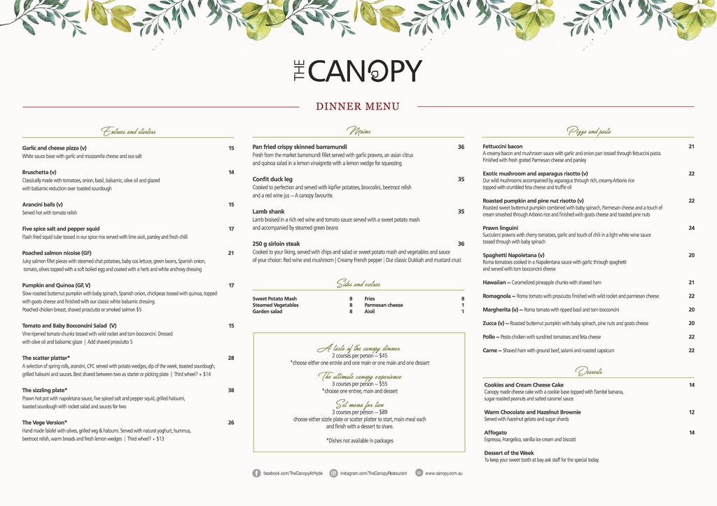 Dinner Menu  The Canopy Restaurant